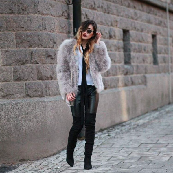 how to style a skinny scarf with a fur coat