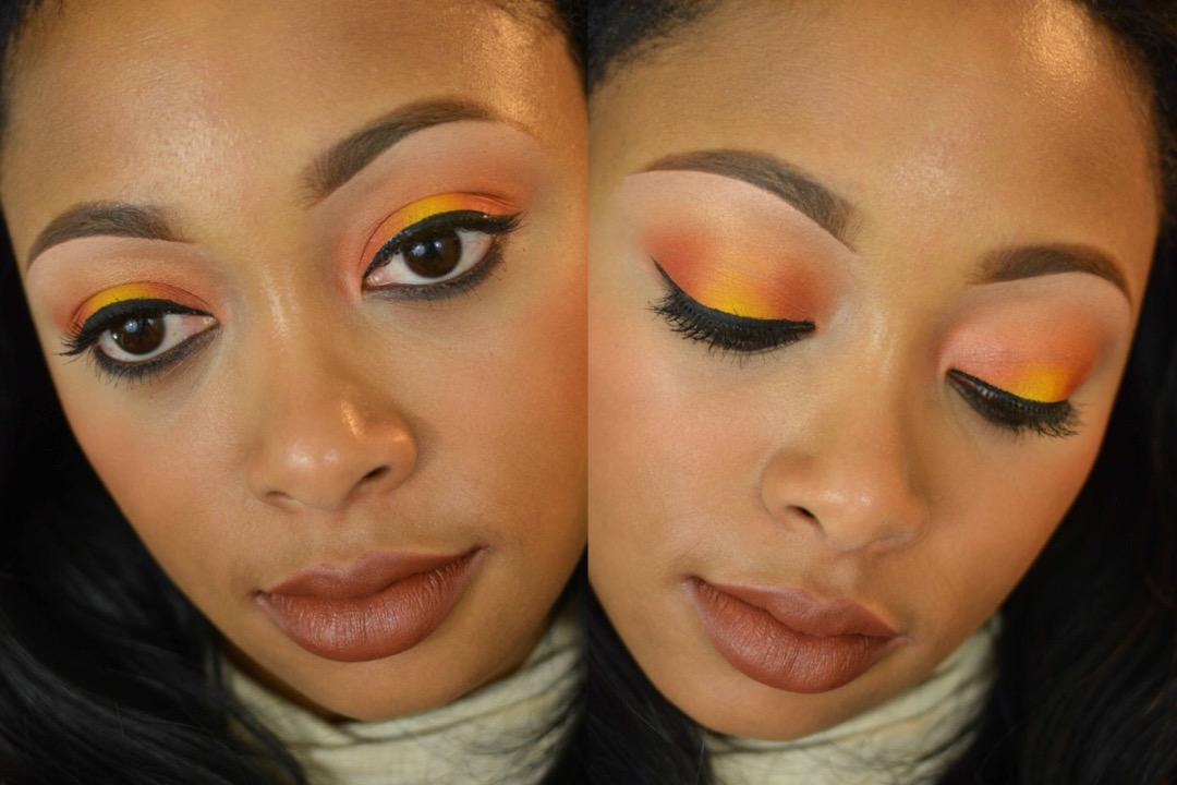 MAC makeup tutorial using Style Predator, Chrome Yellow and Orange Eye Shadows